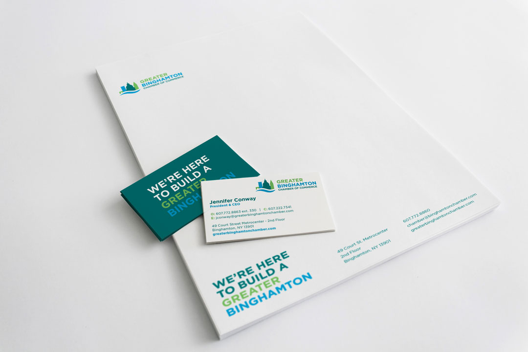 Greater Binghamton Chamber of Commerce stationery mockup consisting of a letterhead and business cards on a white background