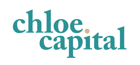 New Chloe Capital logo made by Idea Kraft. It consist of a teal text with a gold dot for the i.