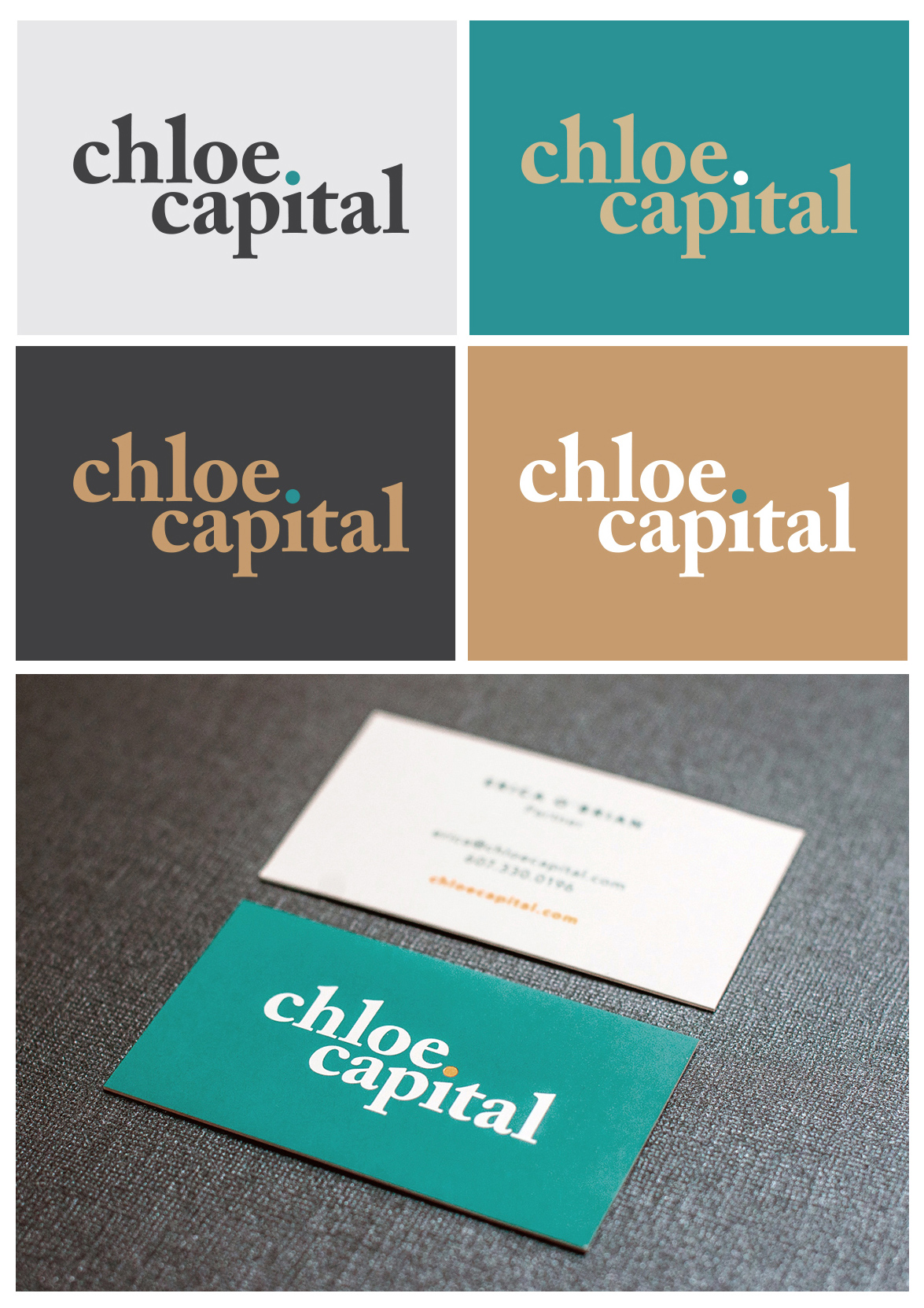 Chloe Capital logo featured on the following colored backgrounds, light gray, teal, dark gray, and gold. Also a glamour shot of the new Chloe business cards laying on a piece of dark gray background.