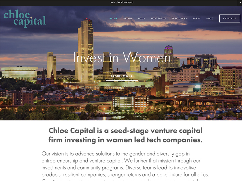 Screenshot of the Chloe Capital website before the rebrand featuring a heading image with a city skyline that says invest in women.