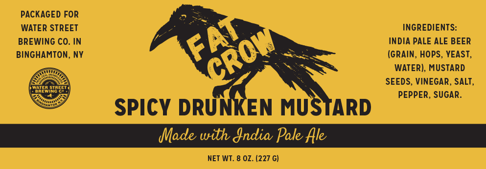 Fat Crown mustard black and yellow label concept that features a sketch of a large crow