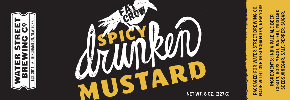 Fat Crow spicy drunken mustard label typographic concept