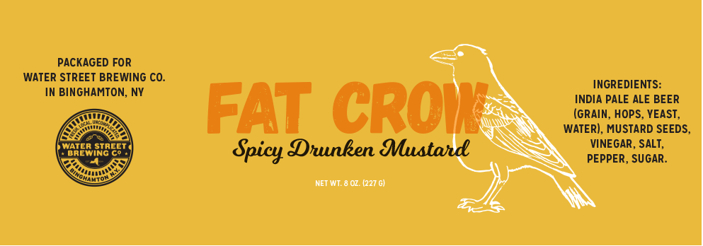 Fat Crow spicy drunken mustard yellow label with small friendly outline sketch of a white crow