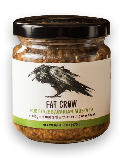 Fat Crow pub style bavarian mustard bottle on a transparent background