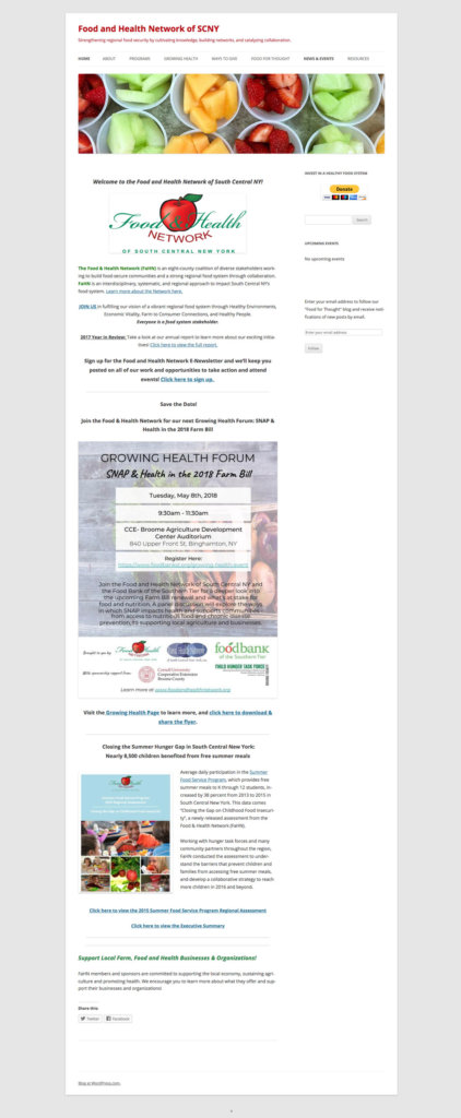 Food and Health Network full old blog page