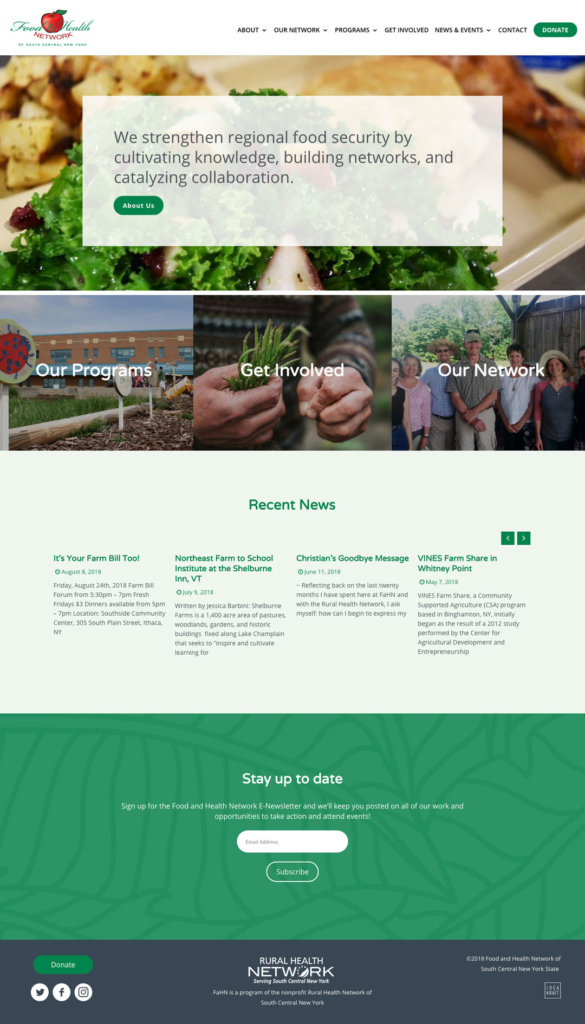 Food and Health Network full home page