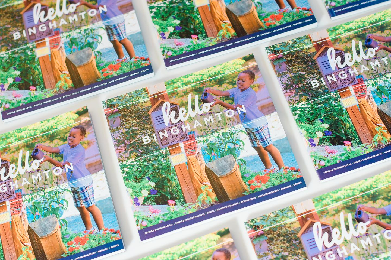 Hello Binghamton book cover happy child in story garden in Binghamton