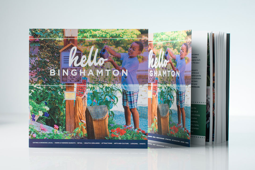 Hello Binghamton book with child in story garden