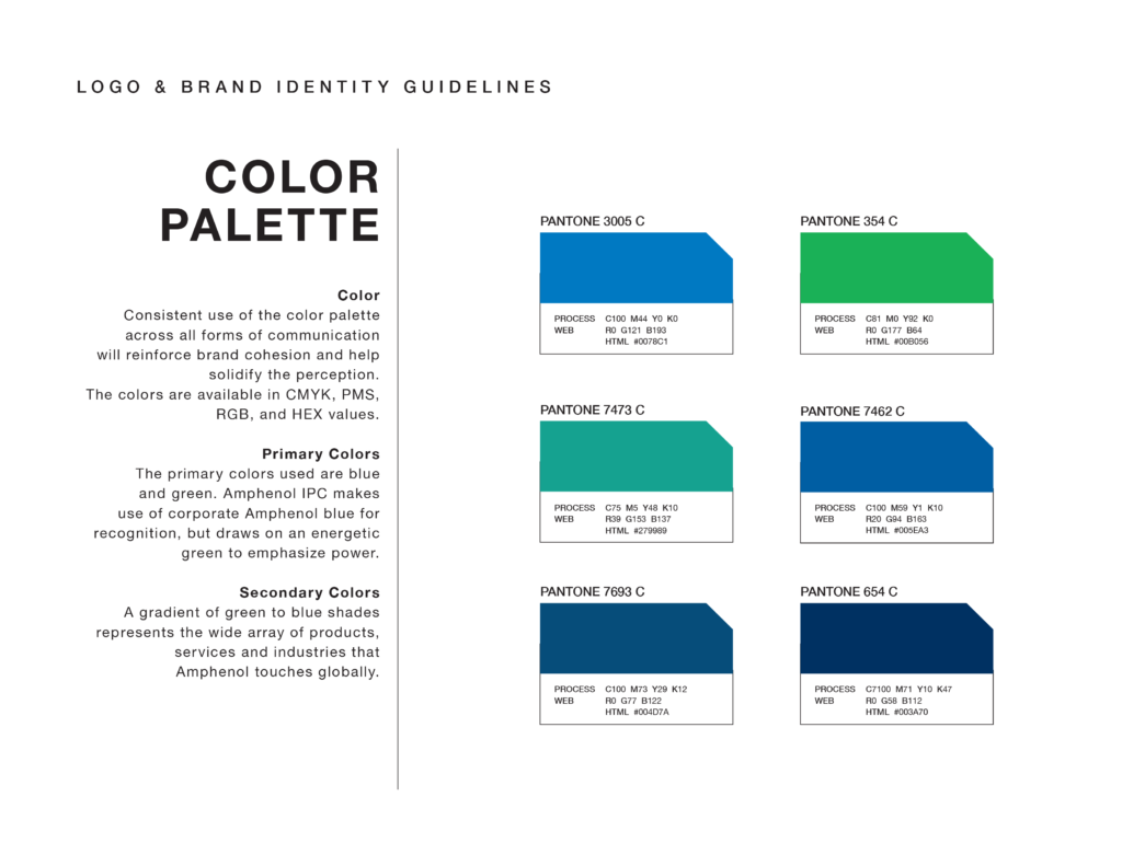 Amphenol brand guidelines showing color palette