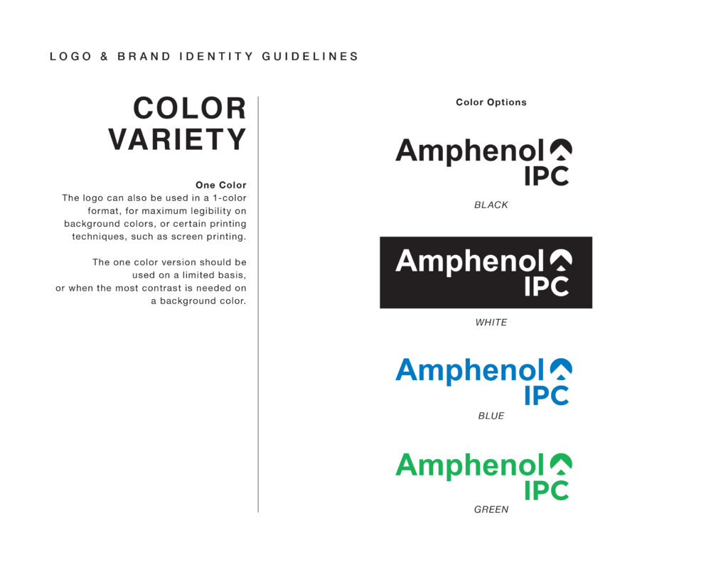 Amphenol brand guidelines showing color variety