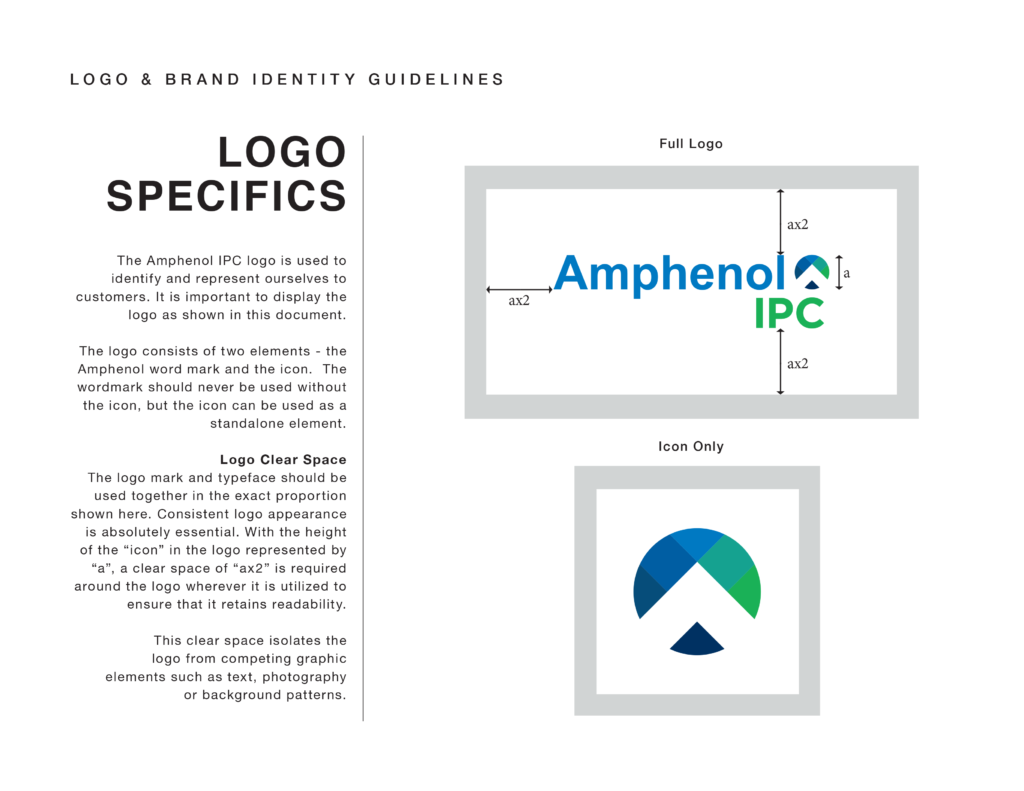 Amphenol brand guidelines showing logo specifics