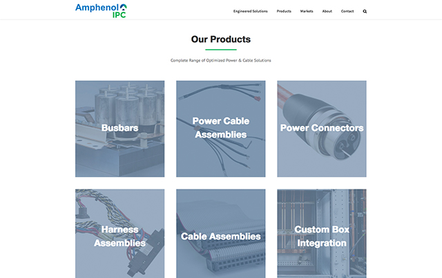 Screenshot of the Amphenol website products section