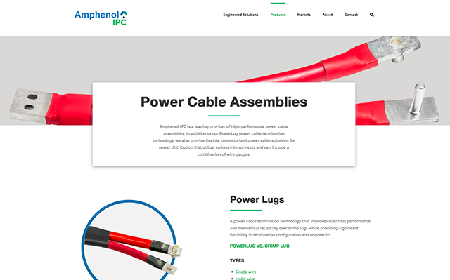 Screenshot of the Amphenol website product page