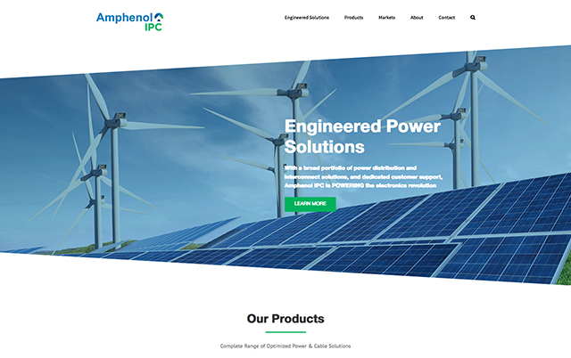 Screenshot of the Amphenol website angled slider