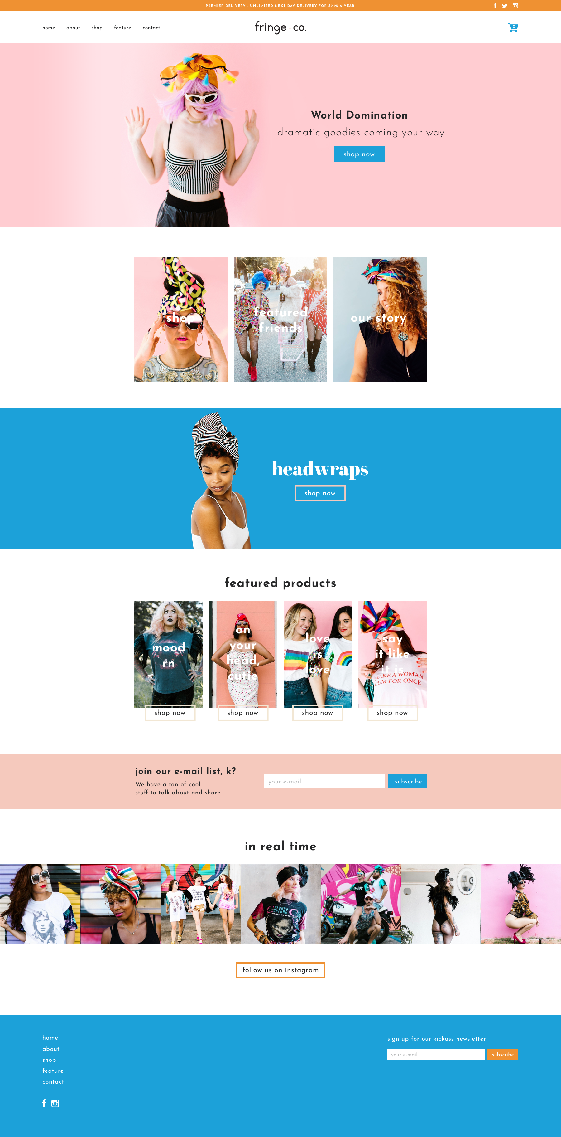 Fringe and Co fashion brand homepage