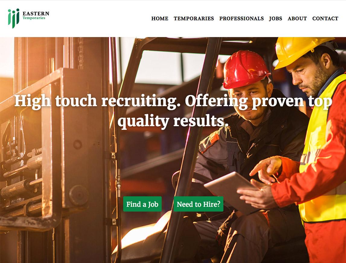 Eastern Temporaries website landing page