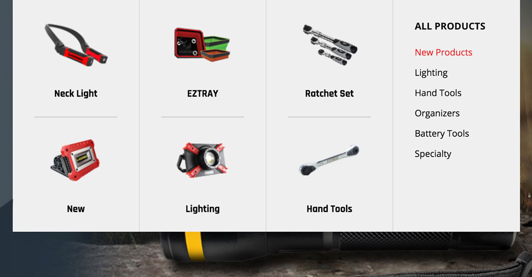Menu of EZRED tools and product categories