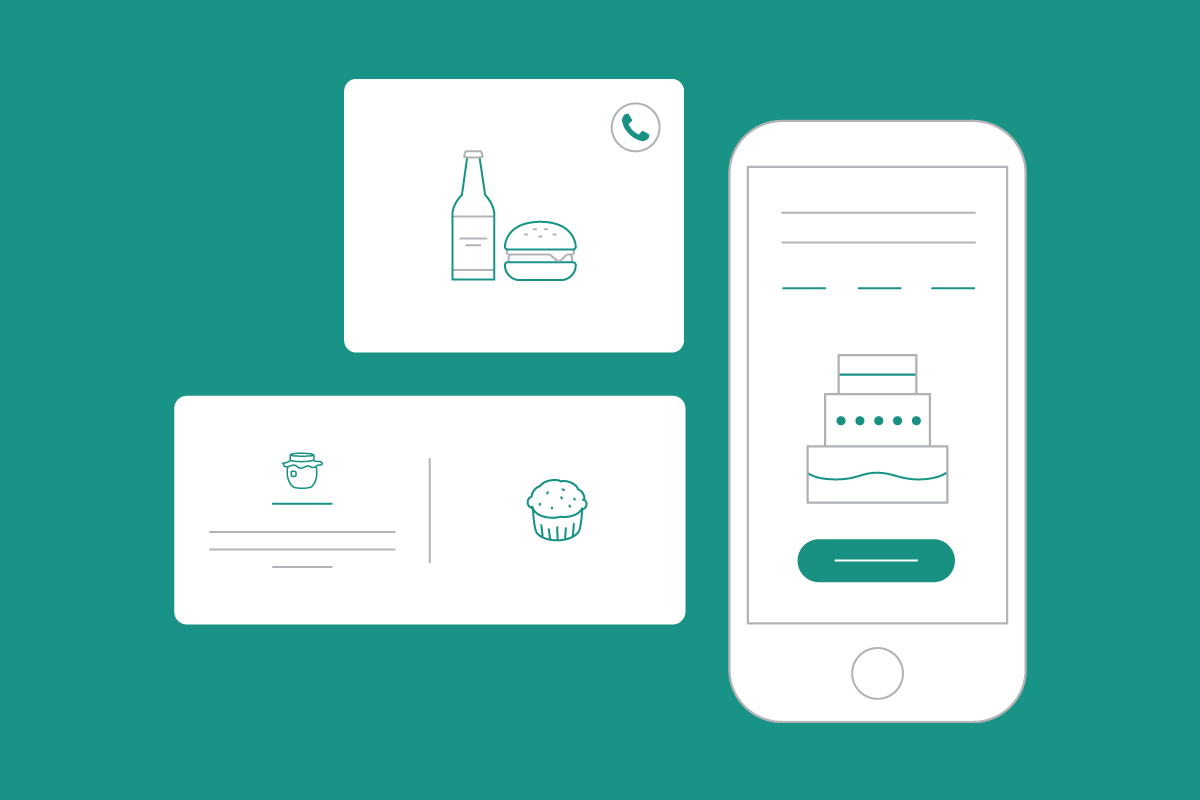 Simple icons of food and restaurant website layout