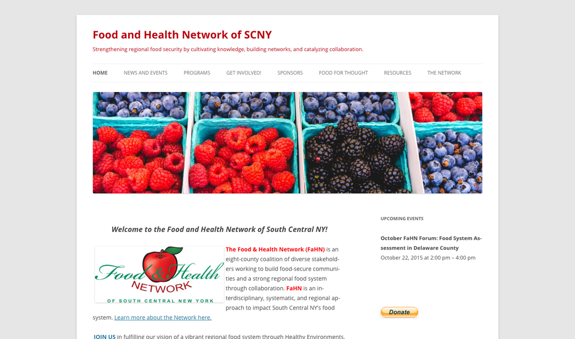 Old Food and Health Network homepage