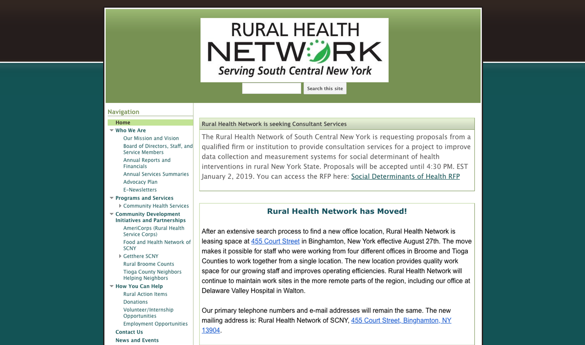 Old Rural Health Network homepage