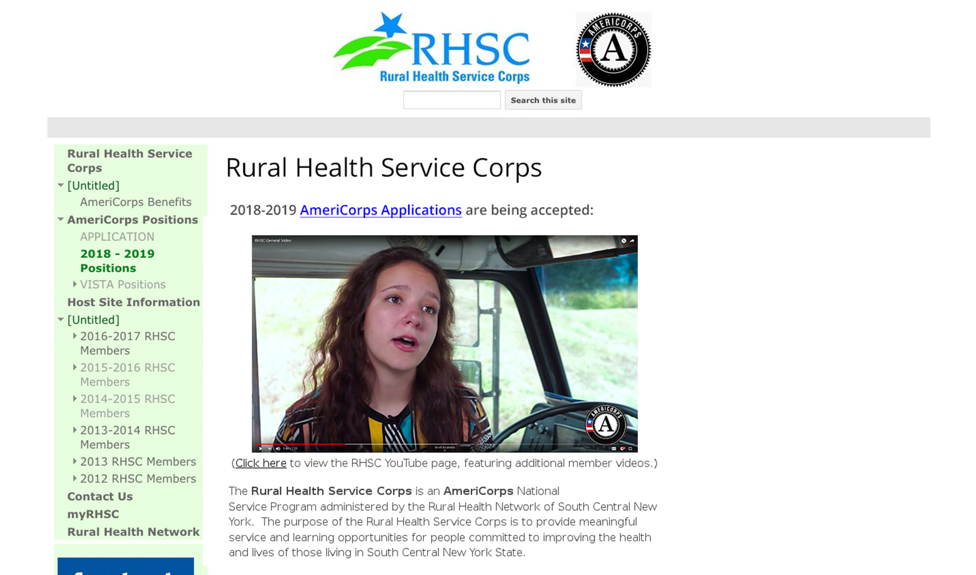 Old Rural Health Service Corps website