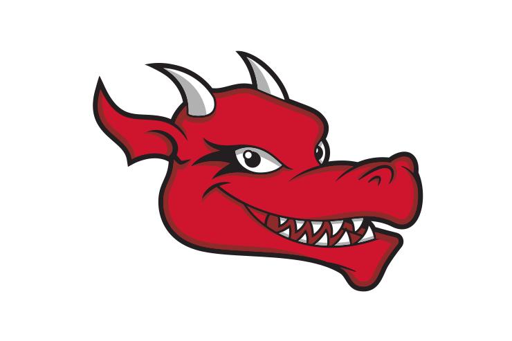 SUNY Cortland dragon head smiling