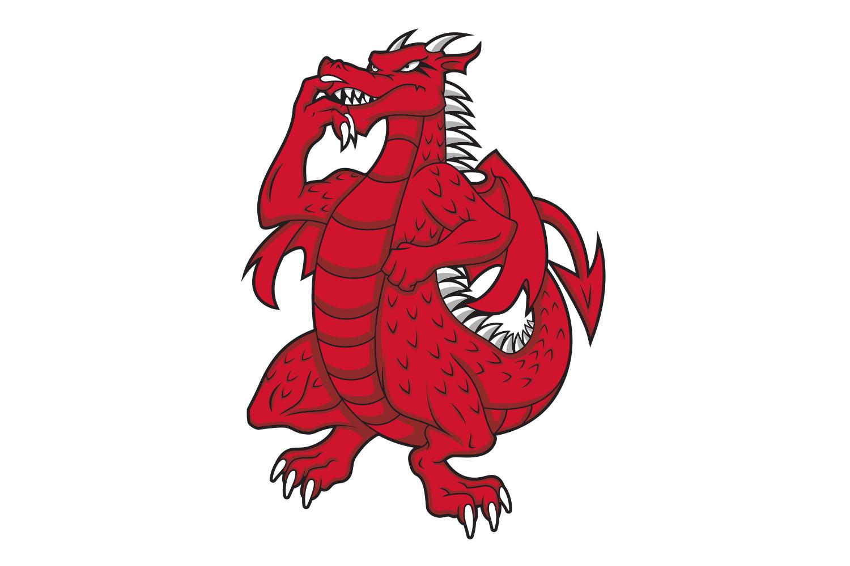 SUNY Cortland dragon standing illustration